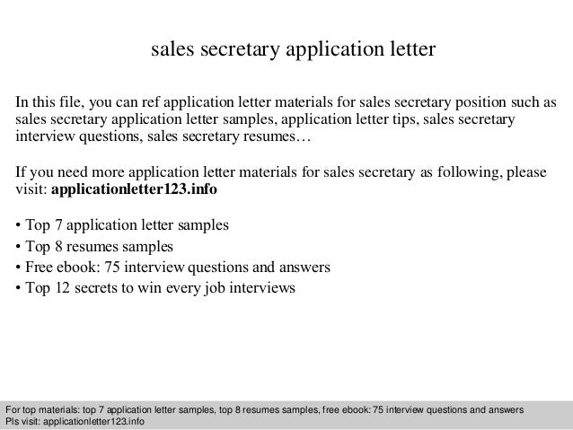 Sales secretary application letter sales secretary application letter in this file you can ref application letter materials for sales application letter sample thecheapjerseys Choice Image