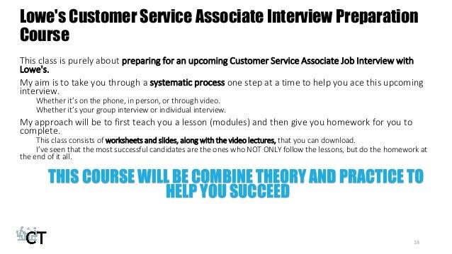 customer service associate interview preparation course 18 lowes - Lowe Customer Service Associate Sample Resume