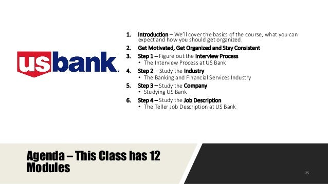 The Course Outline 24; 25.  Bank Teller Job Description