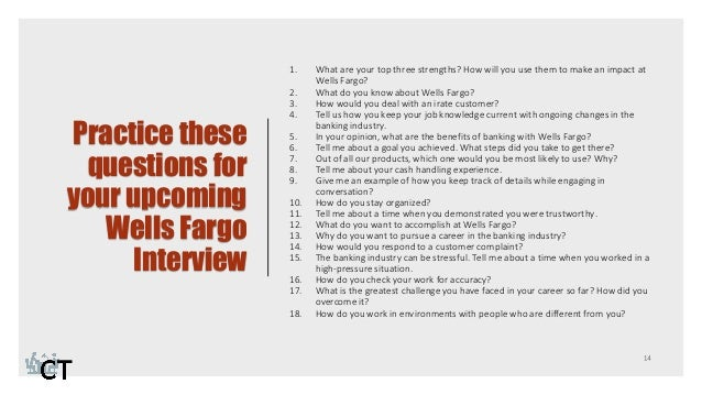 Practice 13 14 These Questions For Your Upcoming Wells Fargo Interview