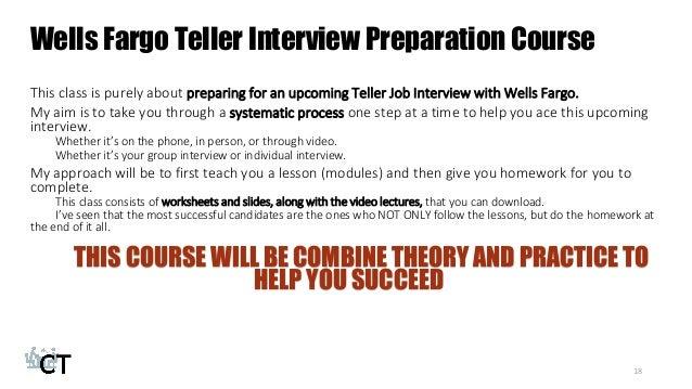 Fargo Teller Interview Preparation Course 18 Wells