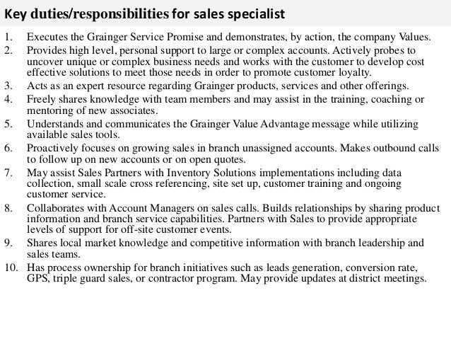sales job description resumes