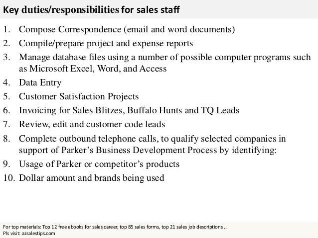 sales staff responsibilities
