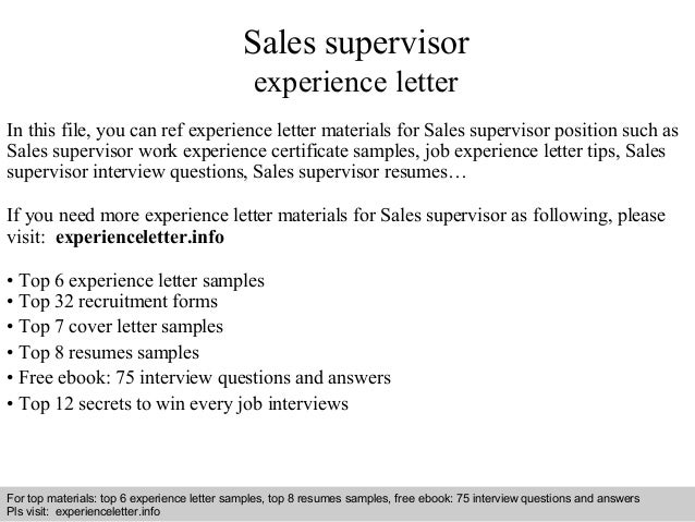 Sales supervisor experience letter for Cover letter supervisor position no experience