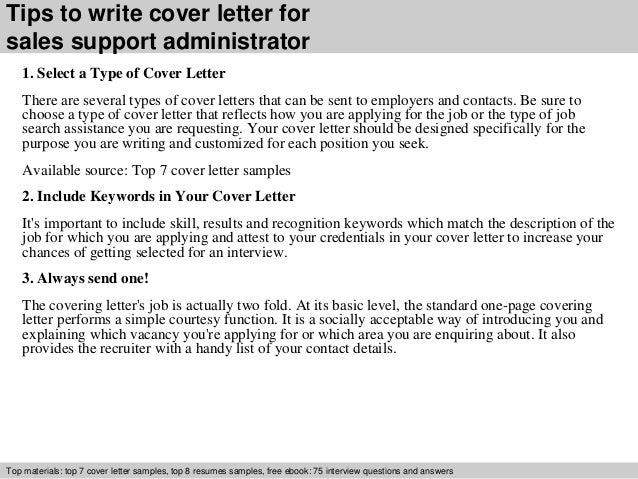 Sales support administrator cover letter