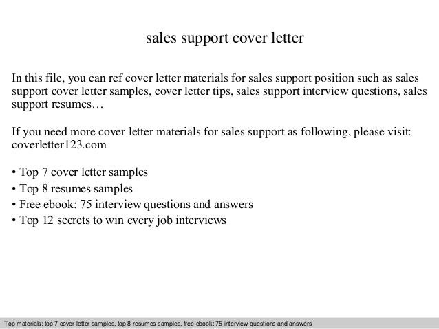Sales support cover letter for Sample cover letters for sales jobs
