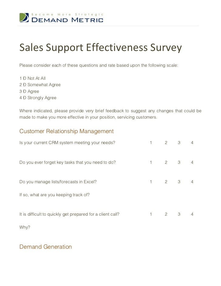 sales support effectiveness survey