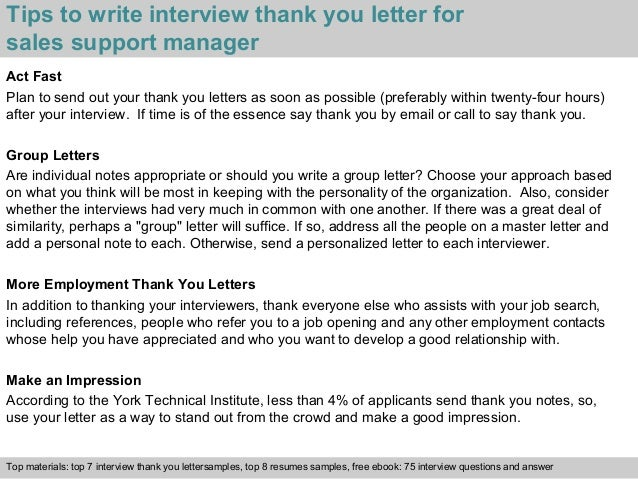 Sales support manager 3 tips to write interview thank you letter for sales support expocarfo
