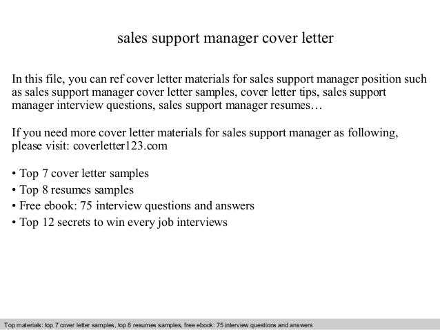 Sales support manager cover letter