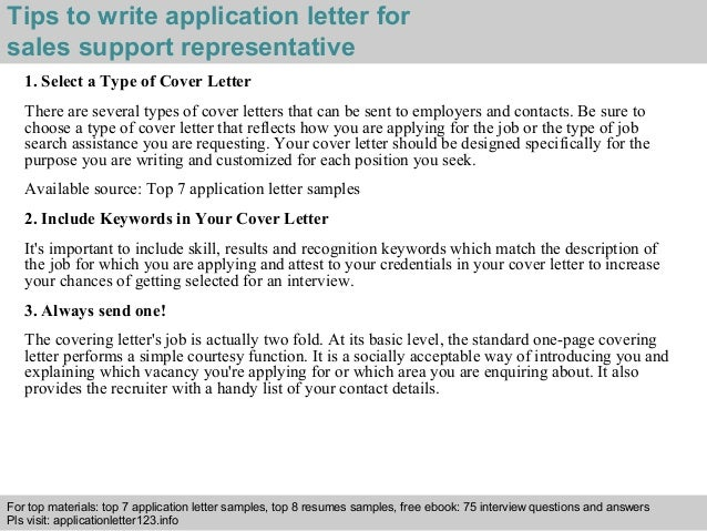 sales support representative application letter