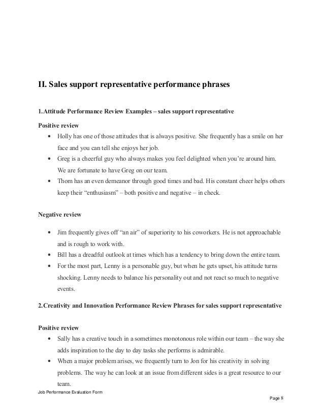 Sales support representative performance appraisal