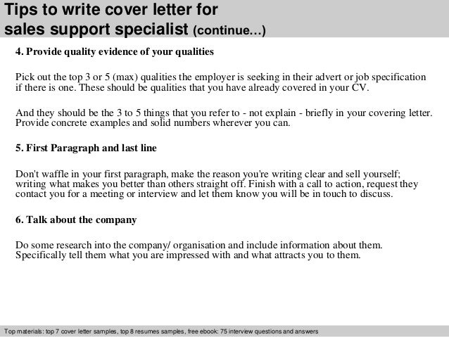Sales support specialist cover letter