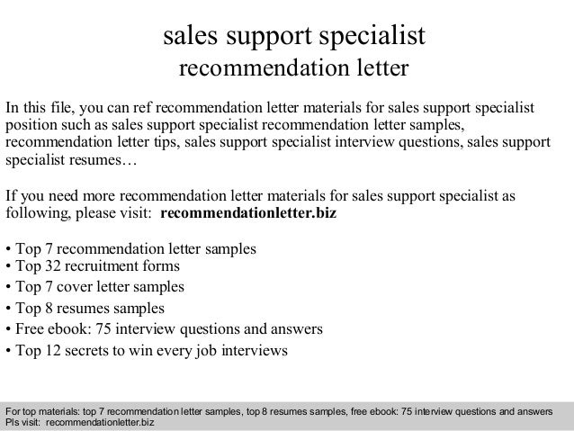 Sales Support Specialist Recommendation Letter