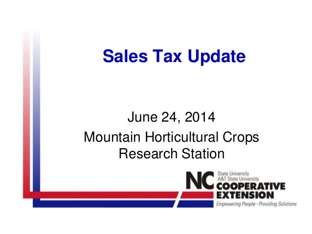 Nc State Sales Tax >> North Carolina Sales Tax Update