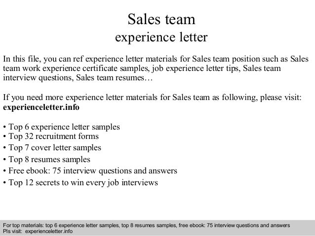 Sales Team Experience Letter