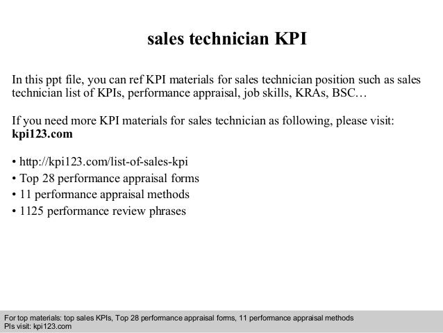 sales technician KPI  In this ppt file, you can ref KPI materials for sales technician position such as sales  technician ...