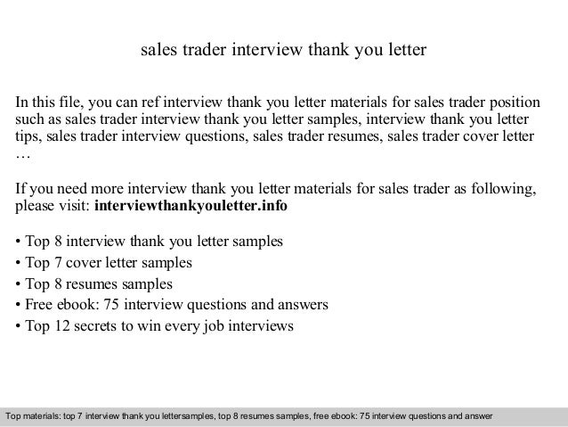 Sales Trader Interview Thank You Letter In This File, You Can Ref Interview  Thank You ...