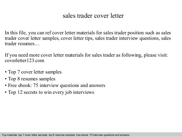 Great Sales Trader Cover Letter In This File, You Can Ref Cover Letter Materials  For Sales ...