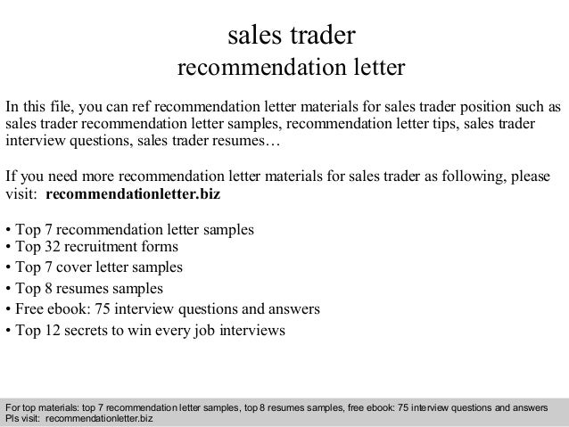 Sales Trader Recommendation Letter In This File, You Can Ref Recommendation  Letter Materials For Sales ...