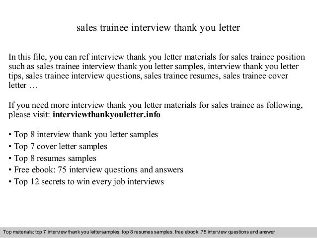 Sales Trainee Interview Thank You Letter In This File, You Can Ref  Interview Thank You ...