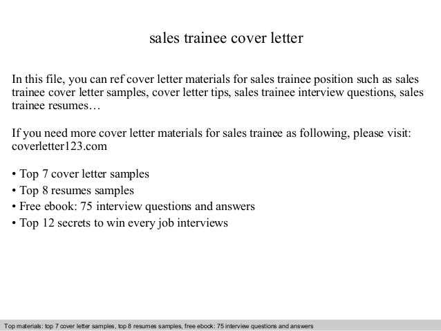 Sales Trainee Cover Letter In This File, You Can Ref Cover Letter Materials  For Sales ...  Traineeship Cover Letter