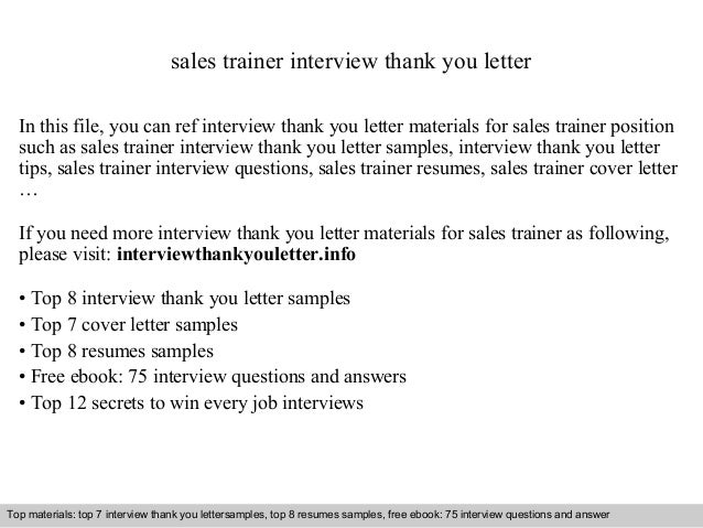 Good Sales Trainer Interview Thank You Letter In This File, You Can Ref  Interview Thank You ...