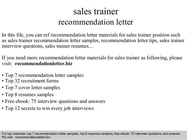 Sales trainer recommendation letter