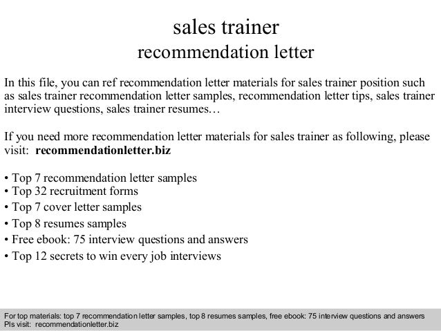Interview Questions And Answers U2013 Free Download/ Pdf And Ppt File Sales  Trainer Recommendation Letter ...