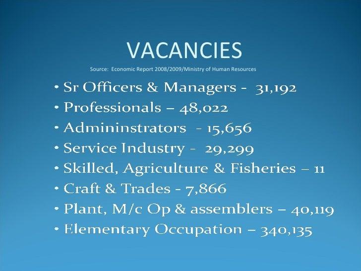 VACANCIES Source:  Economic Report 2008/2009/Ministry of Human Resources