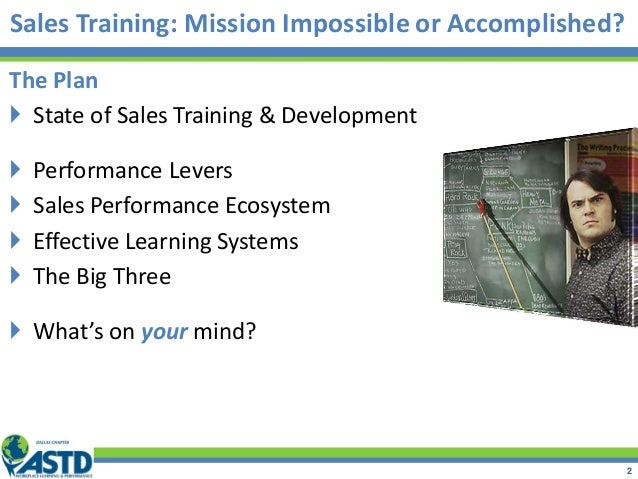 Sales Training: Mission Impossible or Accomplished? The Plan  State of Sales Training & Development  Performance Levers ...