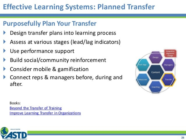 Purposefully Plan Your Transfer  Design transfer plans into learning process  Assess at various stages (lead/lag indicat...