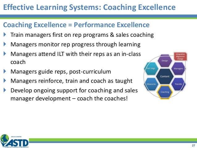 Coaching Excellence = Performance Excellence  Train managers first on rep programs & sales coaching  Managers monitor re...