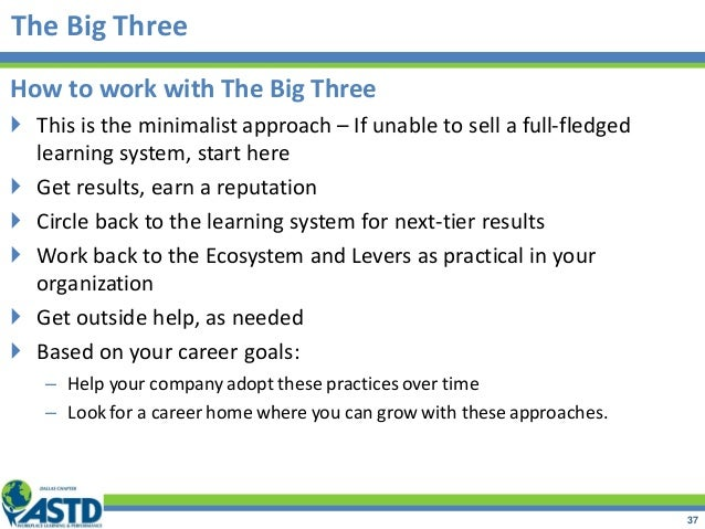 The Big Three How to work with The Big Three  This is the minimalist approach – If unable to sell a full-fledged learning...