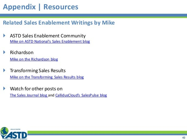Related Sales Enablement Writings by Mike  ASTD Sales Enablement Community Mike on ASTD National's Sales Enablement blog ...