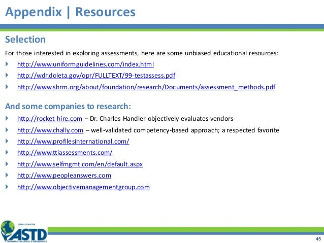 Appendix | Resources Selection For those interested in exploring assessments, here are some unbiased educational resources...
