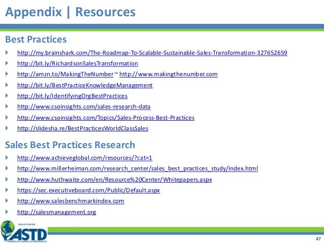 Appendix | Resources Best Practices  http://my.brainshark.com/The-Roadmap-To-Scalable-Sustainable-Sales-Transformation-32...