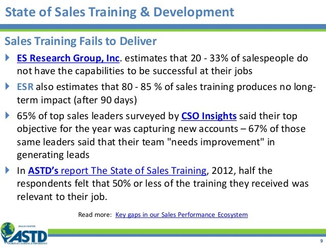 State of Sales Training & Development Sales Training Fails to Deliver  ES Research Group, Inc. estimates that 20 - 33% of...