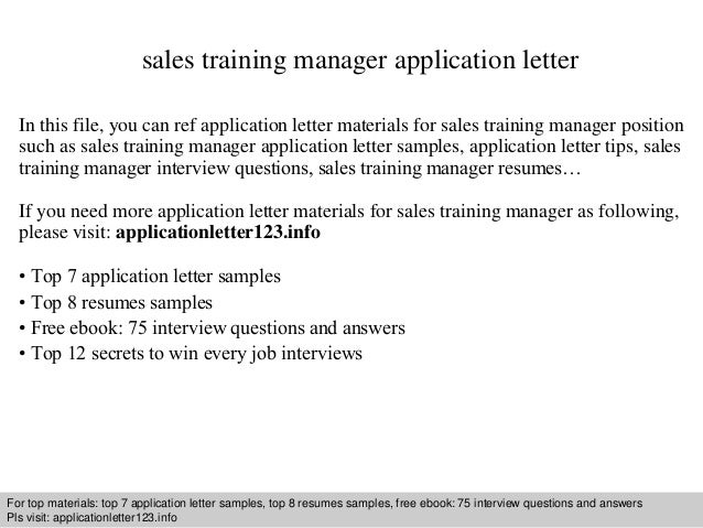 sales training manager application letter