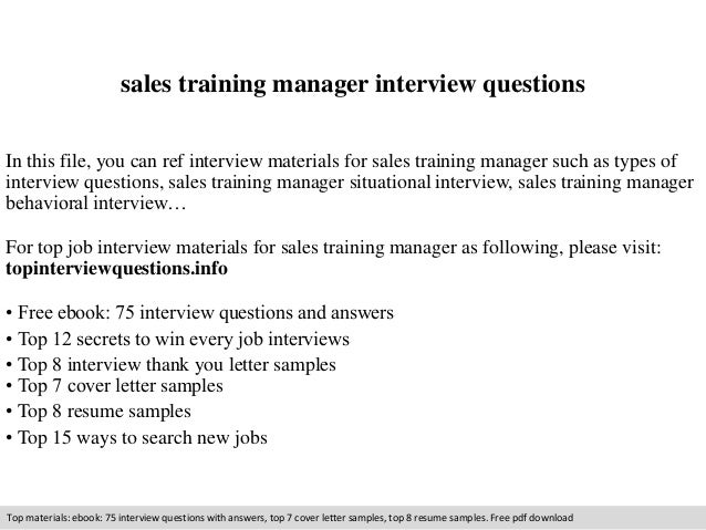 Sales Training Manager Interview Questions