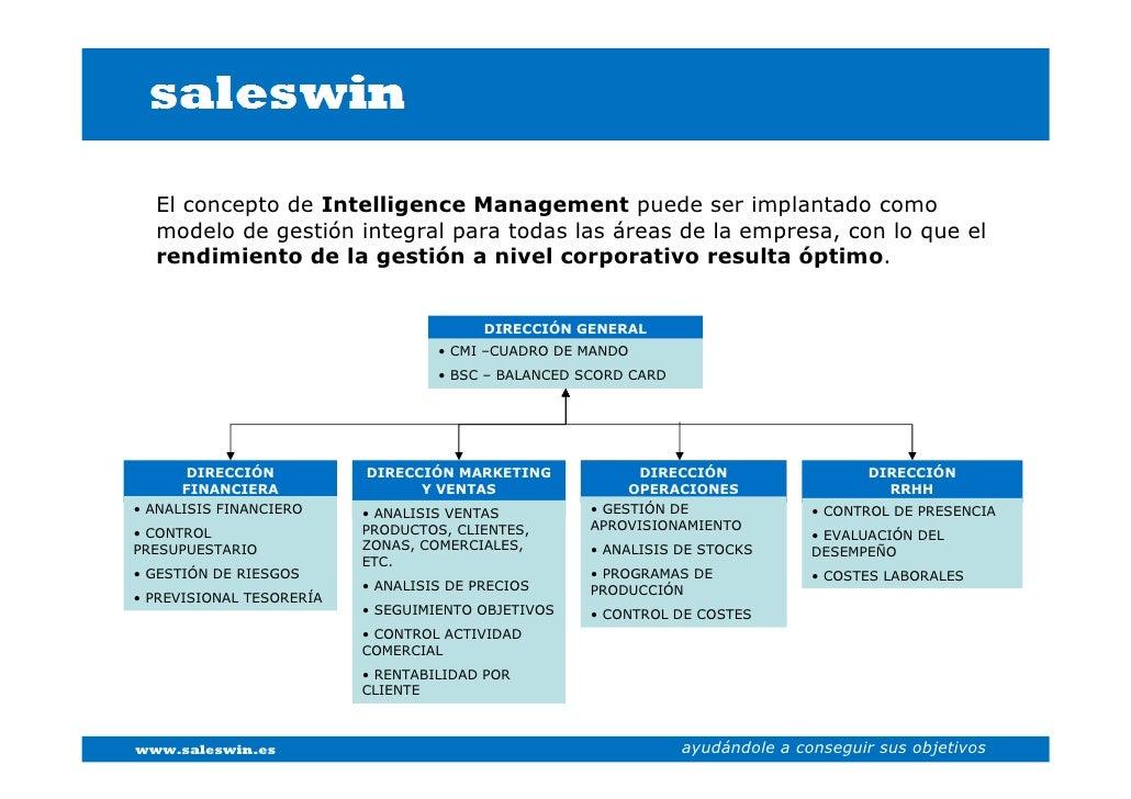 El concepto de Intelligence Management puede ser implantado como   modelo de gestión integral para todas las áreas de la e...