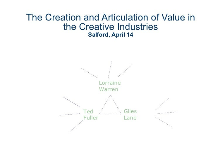 The Creation and Articulation of Value in the Creative Industries Salford, April 14 Ted  Fuller Lorraine  Warren Giles  Lane