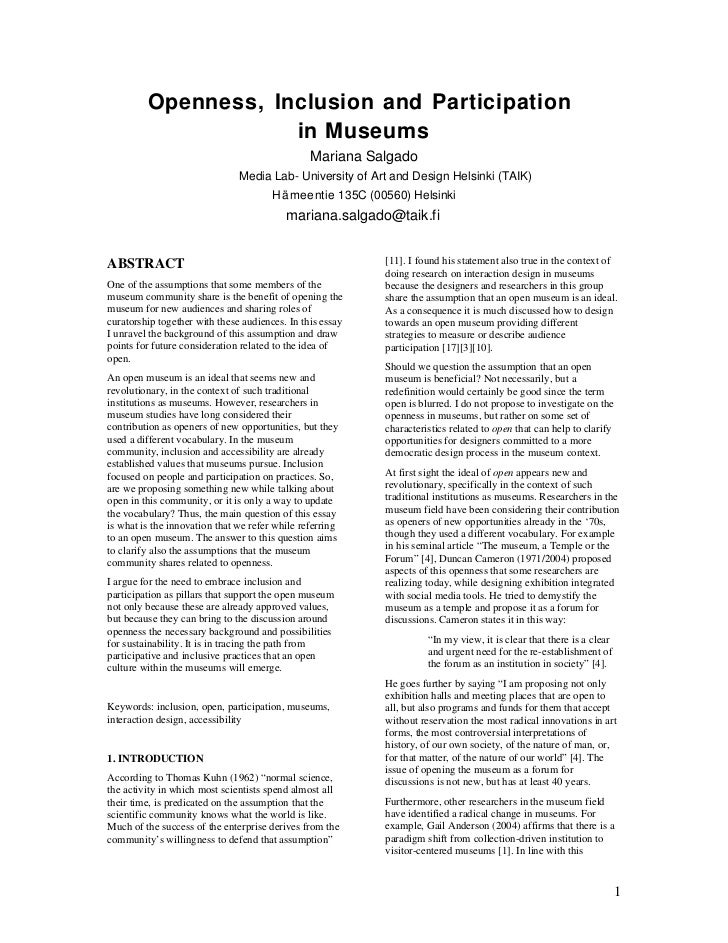Openness, Inclusion and Participation                     in Museums                                                Marian...