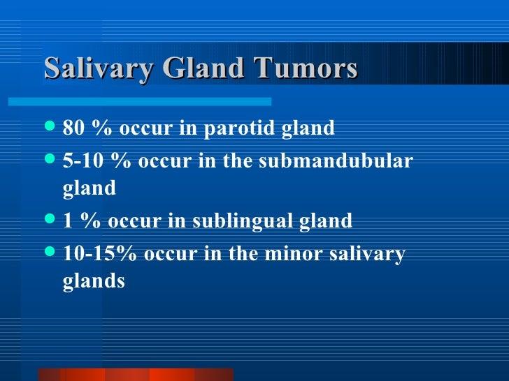 Salivary Gland Tumors <ul><li>80 % occur in parotid gland </li></ul><ul><li>5-10 % occur in the submandubular gland </li><...
