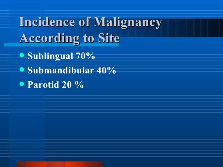 Incidence of Malignancy According to Site <ul><li>Sublingual 70% </li></ul><ul><li>Submandibular 40% </li></ul><ul><li>Par...