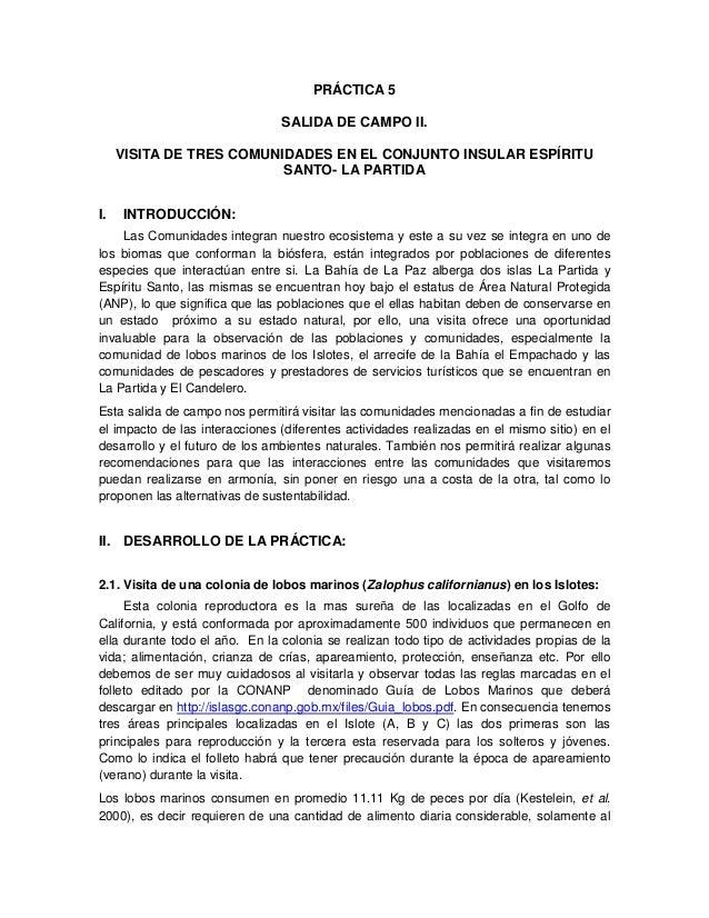 PRÁCTICA 5  SALIDA DE CAMPO II.  VISITA DE TRES COMUNIDADES EN EL CONJUNTO INSULAR ESPÍRITU  SANTO- LA PARTIDA  I. INTRODU...
