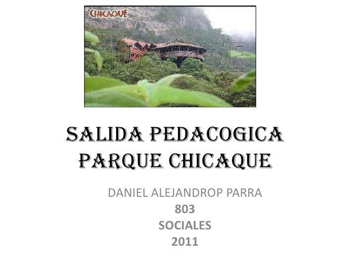 SALIDA PEDACOGICA PARQUE CHICAQUE<br />DANIEL ALEJANDROP PARRA<br />803<br />SOCIALES<br />2011<br />