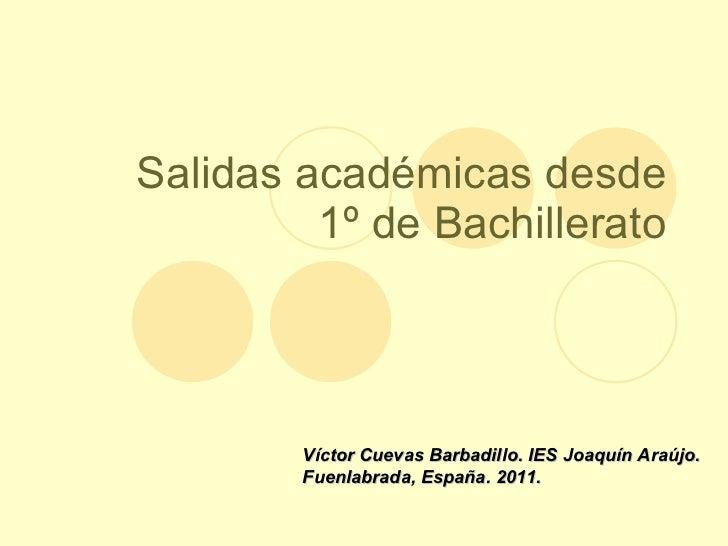 Salidas académicas desde 1º de Bachillerato Víctor Cuevas Barbadillo. IES Joaquín Araújo. Fuenlabrada, España. 2011.