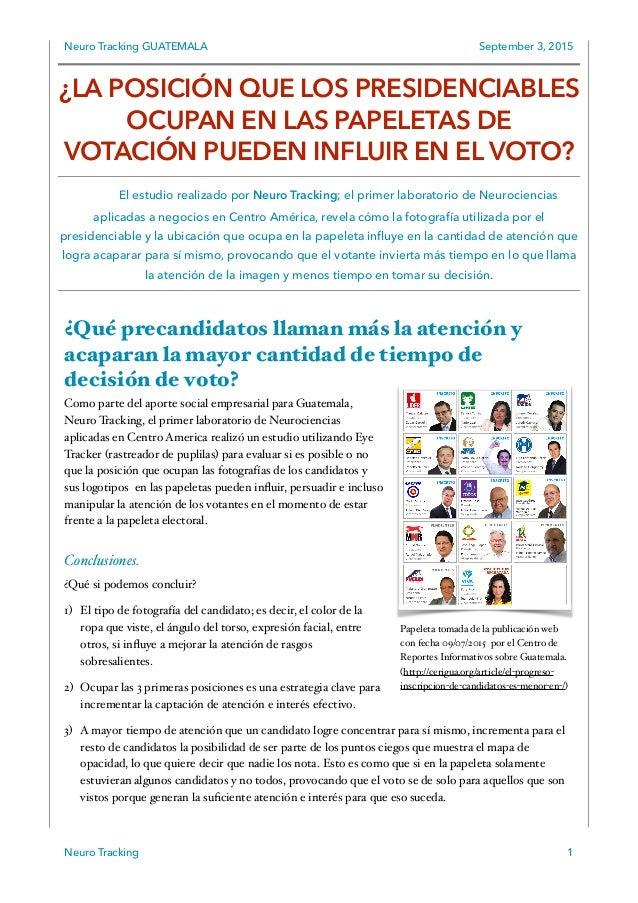 Neuro Tracking GUATEMALA September 3, 2015 ¿Qué precandidatos llaman más la atención y acaparan la mayor cantidad de tiemp...