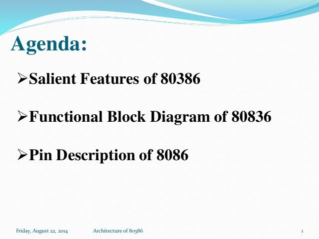 Agenda: Friday, August 22, 2014 Architecture of 80386 Salient Features of 80386 Functional Block Diagram of 80836 Pin D...