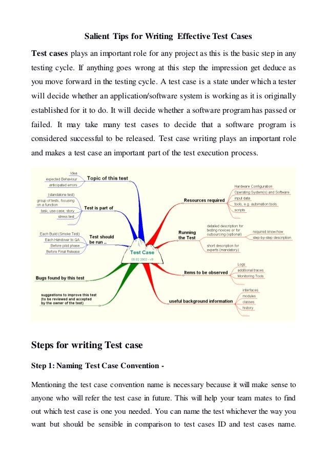 Salient Tips For Writting Effective Test Cases